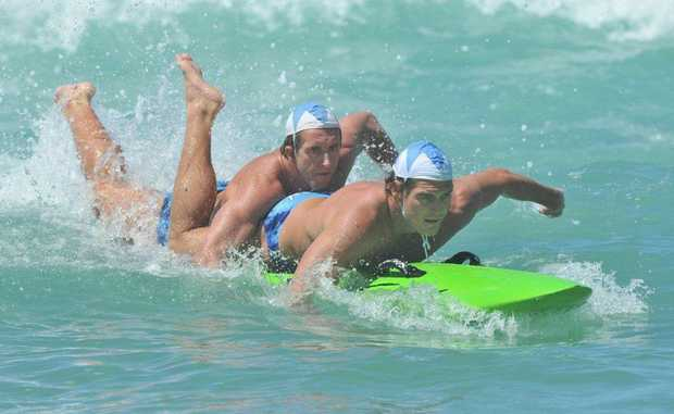 Cudgen Headland Surf Life Saving Club Scott McCartney and Jarrad Cain competing in the open board rescue.