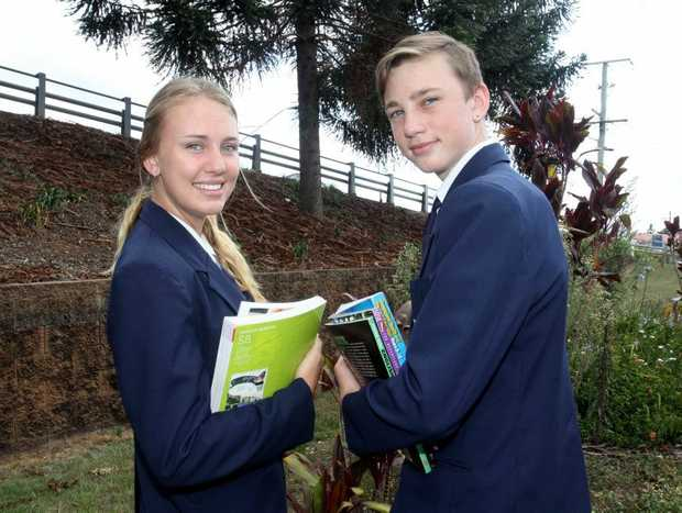 Tahlia and Jacob Lymbery at students at St Eugene College. Photo Vicki Wood / Caboolture News