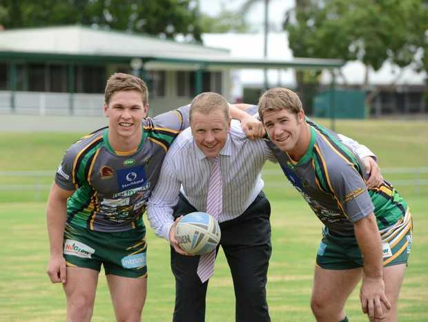Jets players Matt Parcell and Keiron Lander with Stocklands regional manager Mike Stone. Stocklands is the new major sponsor for the Jets.