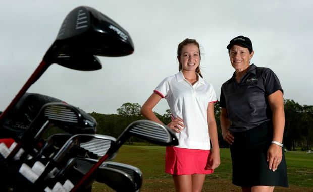 Rising golf star Rebecca Kay with Rachel Hetherington at the driving range.