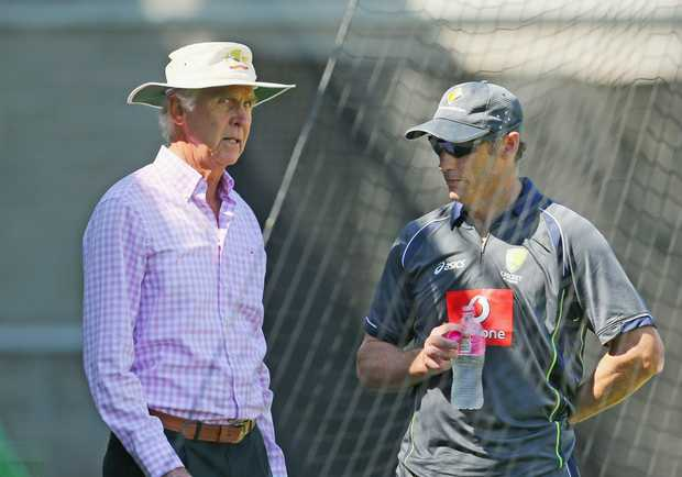 David Hussey of Australia talks with Australian Chairman of Selectors John Inverarity during an Australian cricket team training session at the Melbourne Cricket Ground on January 10, 2013 in Melbourne, Australia.
