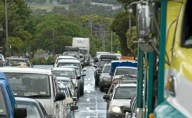 ALL STOP: Traffic is banked back on the Toowoomba range after a crash. If lights are installed on the approach this could become the norm for traffic heading up the range.