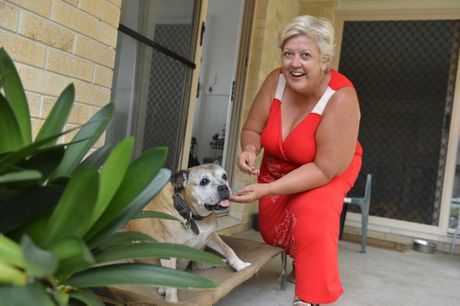 Tracy Noe and her 19-year-old American staffy Maggie.