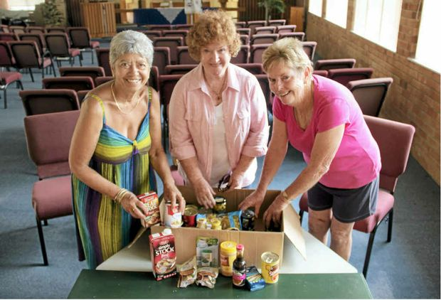 MEETING A NEED: Members of Mullumbimby Community Food Box Mary Polidano, Gai Laverty and Gil Lomath prepare for next month's opening.