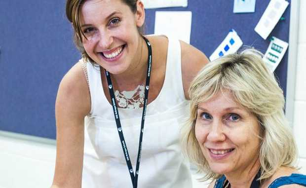 DELICATE ART: Marilyn Williamson (right) from Rockhampton chats with her The Illustrated World instructor Tiffany Shafran