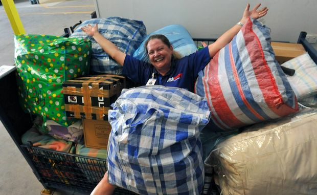 TASSIE BOUND: Fastway owner Sue Peake is thrilled with the response from the Bundaberg community in the form of donations for the Tasmanian Fire Relief effort.
