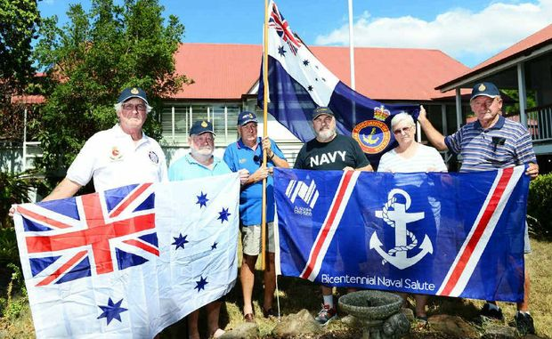 STAYING PUT: Bundamba Sub-Section Naval Association of Australia members (from left) Bill Krause, Fred Kirby, Gary Rankin, Ron Baker, Mary Kirby and Kurt Geipel refuse to leave Blackstone School.