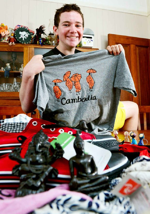 MEMENTOS: Bremer State High School captain Brendan Modini, 16, has just returned from a World Challenge Team trip to Cambodia and Laos.