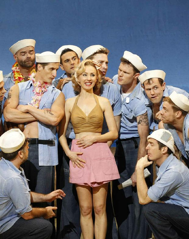 Award-winning performer Lisa McCune as Nellie Forbush with the boys of Opera Australia.