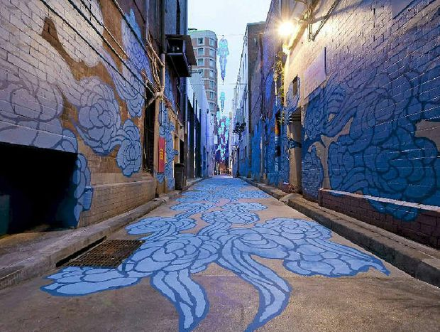 In Between Two Worlds by Jason Wing, in Kimber Lane, Chinatown.