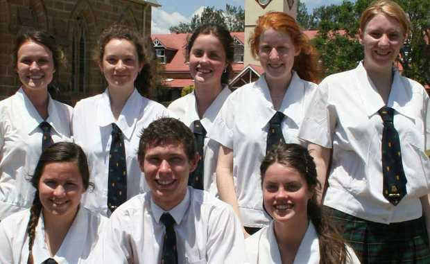 2012 graduates: (Back, from left), Elliese Ackermann, Dancey Gordon, Amy Edwards and Michelle Thompson. Front (from left), Ashleigh Fearby, Lachlan Jackson, Emily Edwards