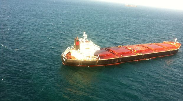 A man suffering chest pain has been airlifted from a Rio Tinto bulk carrier off Gladstone.