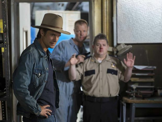 From left, Timothy Olyphant, Terry Dale Parks and Patton Oswalt star in the TV series Justified.