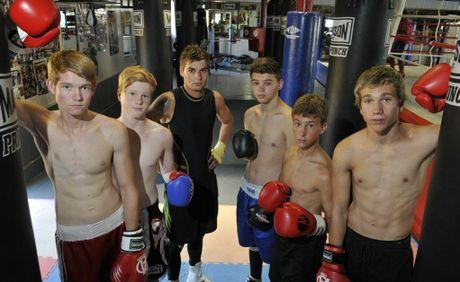 Preparing to fight at Rumours International in March are (from left) Ben Whitaker, Brandon Spain, Brant Rice, Gavan Hornery, Kaleb Barham and Steven Spark.