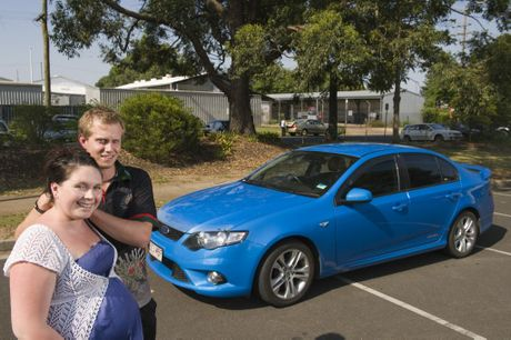 Falcon drivers Hayley and Ben Taylor with their XR6 were surprised by Ford&squot;s plans to scrap the iconic and popular model.