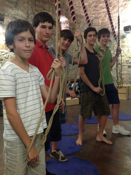 Young Maryborough bell ringers, Jack Stewart, Andrew Chapman and Sean, Hugh and Blair Stewart, practice the church tradition at St John's Anglican Cathedral in Brisbane.
