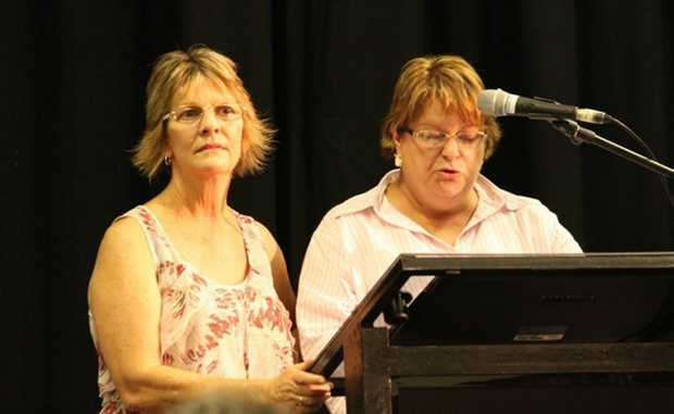 Kris Jones-McKinstrey and Debbie Elliott began the night's proceedings by congratulating their community and warning the board to give them a fair go. Photo:Kathleen Calderwood