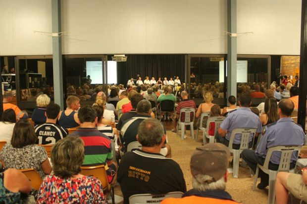 A crowd of over 500 attended to hear the board's proposal. Photo: Kathleen Calderwood