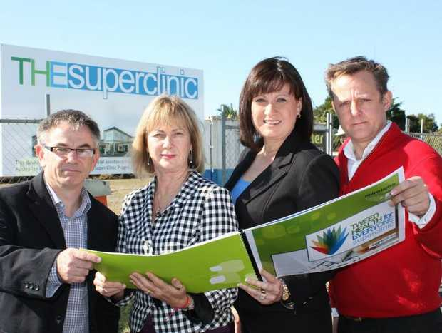 Contributed. Architect Andrew Armstrong, Dr Di Blankensee, Justine Elliot MP and Dr Austin Stern at the new GP super clinic.