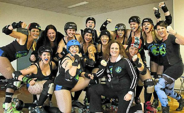 The girls from the Clarence Valley Roller Derby League get fired up before a recent bout. PHOTO: CONTRIBUTED