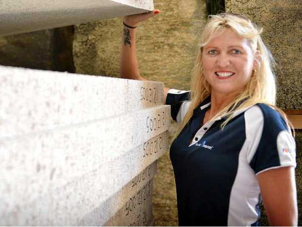 Karra Corbet with the material she aims to manufacture in Gympie and market across the nation.