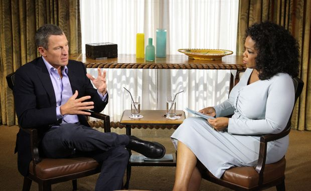 Oprah Winfrey (R) speaks with Lance Armstrong during an interview regarding the controversy surrounding his cycling career on January 14, 2013 in Austin, Texas. Oprah's exclusive interview, 'Oprah and Lance Armstrong: The Worldwide Exclusive', has expanded to air as a two-night event on OWN.