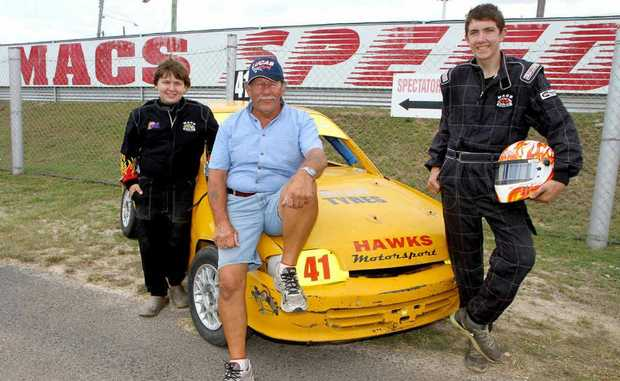 Mac's Speedway promoter Lyndsay Hawkings with grandsons Josh and Rob Hawkings, who will be chasing the 2013 Australian Junior Sedan Champion title.