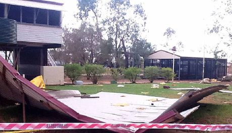OPEN AIR LEARNING: The roof of the Jundah State School ended up on the ground. Education authorities expect to have the school functioning for its seven students on their return.