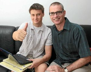 SUPPORT: Caleb Priaulx, pictured with father Andrew, is happy to be offered a place to study engineering at USC.