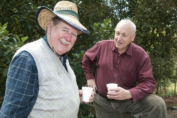 ( from left ) Euan McLean and Cr John Gouldson. National Tree Day at Redwood Park . Photo Nev Madsen / The Chronicle