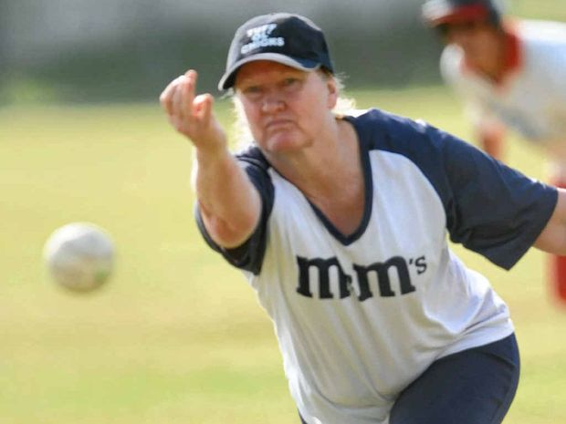 PITCHING IN: Woodburn M2Ms pitcher Kathy Jones in action against Byron Bay earlier in the season.