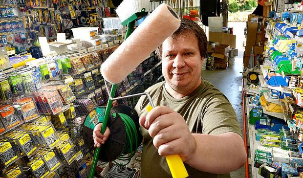 ON A ROLLER: Stephen Bardell of Buderim Handyman Hardware has all your needs for the home renovator.