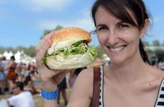 Kayla Mayall enjoys a mushroom burger from Top Shop.