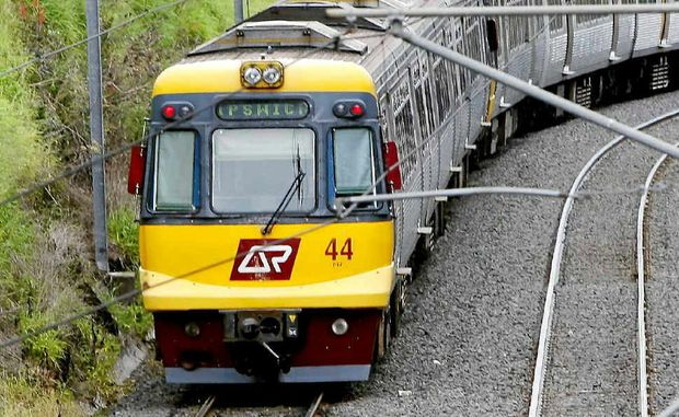 ON TRACK: A Queensland Rail train travels along the Ipswich line.