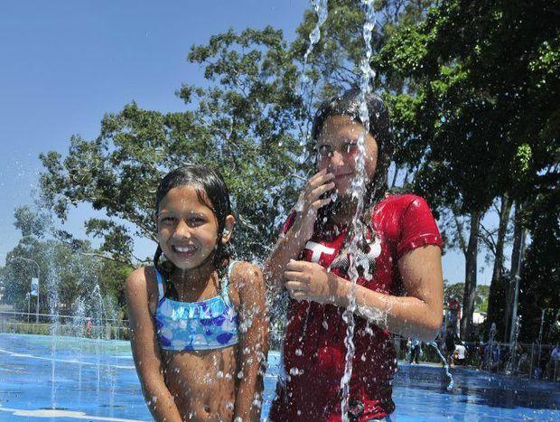 Bundaberg sisters Kaitlyn and Tahlia Carman at WetSide on Saturday. Photo: Nat Bromhead / Fraser Coast Chronicle
