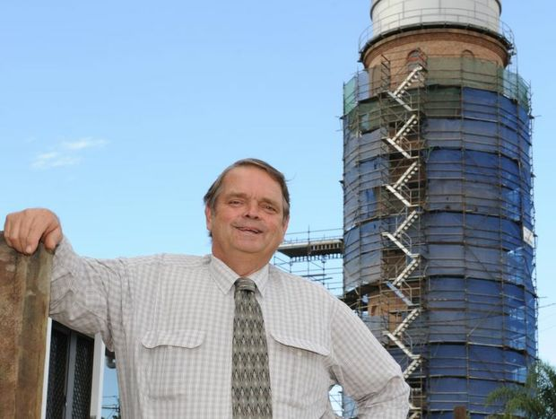 Cr. Alan Bush, water and wastewater infrastructure spokesman, standing in front of the heritage listed east bundy water tower which is having a major refurbishment. Photo: Mike Knott tow3004a