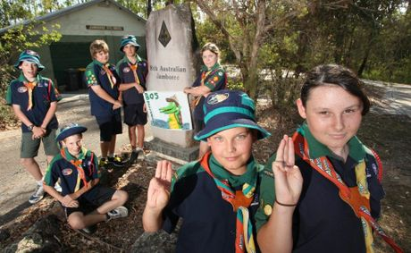 Sam Wallace, 11 and Kiara Watson, 13 and the West Centenary Scouts Troup B05 took part in the 23rd Australian Jamboree 2013. Photo: Inga Williams / The Satellite