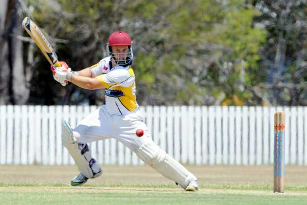 Bushrangers opener Tony Andrews slashes through the off side during the match against Hervey Bay Tigers.
