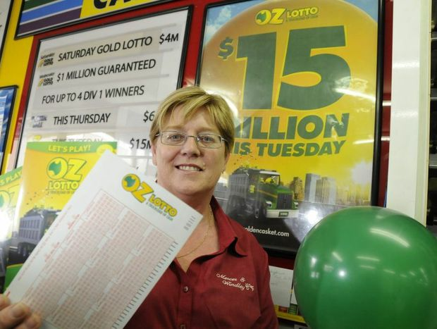 Vicki Kenway from Mercer & Windley Newsagency in Ruthven Street is ready for the $15 million lotto draw.