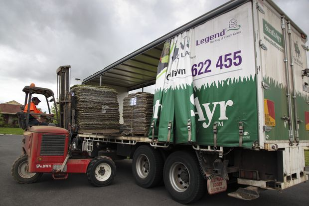 StrathAyr's Victorian farm turf deliveries are handled by two Isuzu FVY 1400 6x4 curtainsiders.
