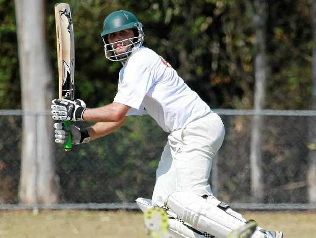 Glasshouse batsman Jeremy Schultz, gets one through the Maroochydore field at Buderim.