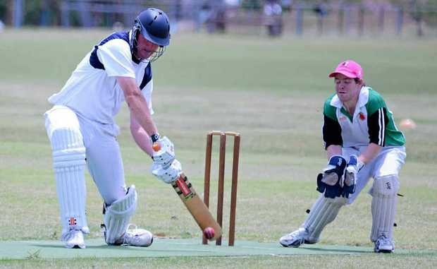 Rob Lindsay connects in his innings of 172 for Maryvale. Aaron Vietheer is the Allora wicketkeeper.