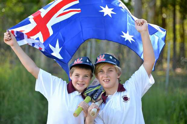 Preview Australia Day Parade at Buderim. Buderim Cricket Club members Angus Mears and Tommy Wells will be flying the flag for Buderim Photo:Warren Lynam / Sunshine Coast Daily