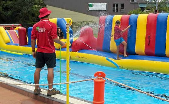 FREE FUN: The inflatable obstacle course at Alstonville pool, which will be set up on Australia Day.