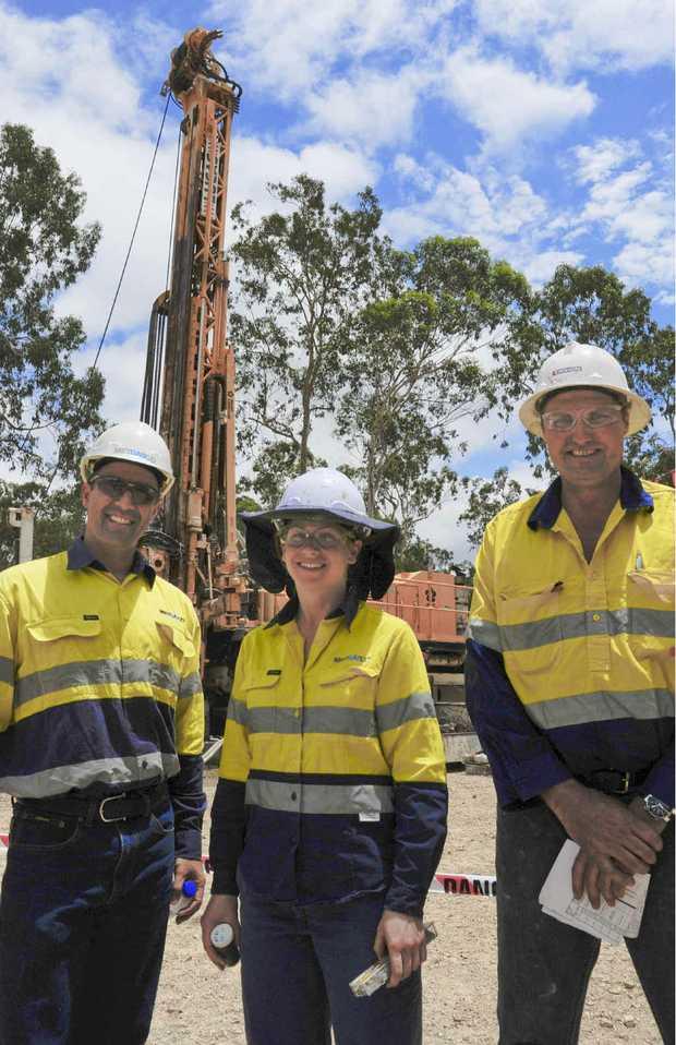 TEST SITE: Metgasco spokesman Richard Shields, senior geologist Anita Doigh and drilling supervisor Craig Nairn.