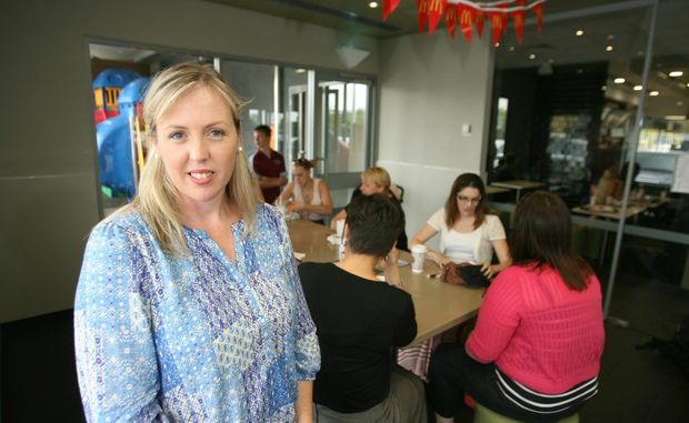 Victoria Murray and the Mining Women's Support Group have found a new meeting place at the Stockland MacDonalds. Photo: Chris Ison / The Morning Bulletin
