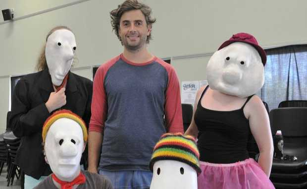 ARTICLES & IMAGES: SUNfest 2013 participants (back) Casey Keogh, Betsy Milne, (front) Lochlan Niven and Mitchell Giles-Duffy gain new skills in Commedia del Arte with IZIT? Entertainment's Ben Cornfoot (centre), at St Stephens Lutheran College.