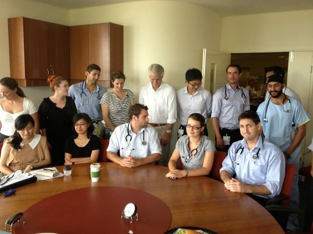MP Geoff Provest chats with new interns at Tweed Hospital. Photo: Luke Mortimer.