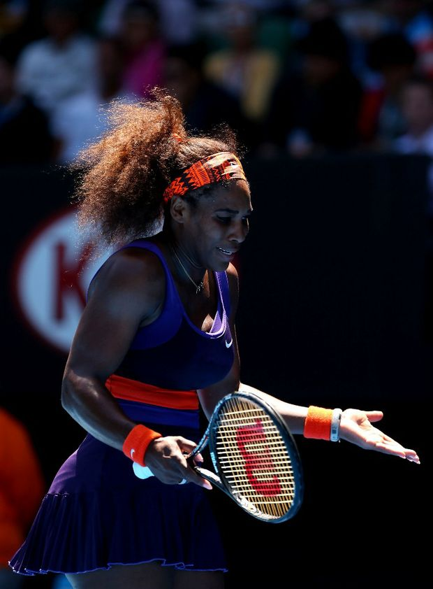 Serena Williams of the US reacts in her Quarterfinal match against Sloane Stephens of the US during day ten of the 2013 Australian Open at Melbourne Park on January 23, 2013 in Melbourne, Australia.