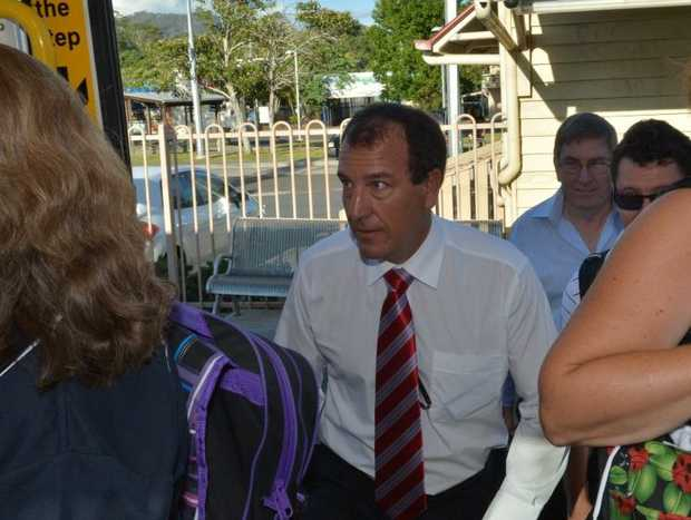 Politicians boarded the public train to Brisbane to experience first hand the thoughts and feelings of users. Candidate for Fisher Mal Brough boards the train.